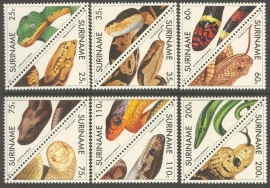 Suriname Republiek  705/716 Surinaamse Slangen 1991 Postfris (Los)
