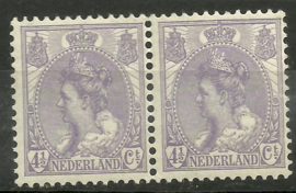 Nvph  59 4½ ct Koningin Wilhelmina Bontkraag in paar Postfris (2)