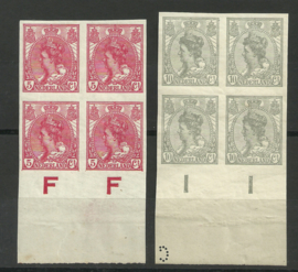 Nvph  82/83 Wilhelmina Ongetand in Blokken van 4 Postfris