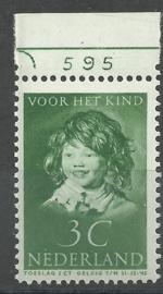 Nvph 301 3 ct Kinderzegel 1937 Postfris met Plaatnummer