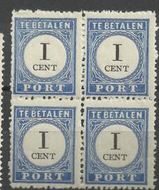 Port  14a 1 ct 1894/1910 Cijfer en Waarde Type III in blok Postfris (1)