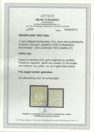 Plaatfout   32a PM9 Postfris + Certificaat