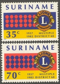 Suriname Republiek 296/297 25 Jaar Lions Club 1982 Postfris