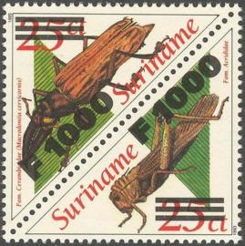 Suriname Republiek 1096/1097 Sprinkhanen Hulpuitgifte 2001 Postfris