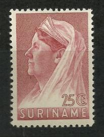 Suriname 172A (12½ × 12½) 25 ct Wilhelmina met Sluier Postfris (1)