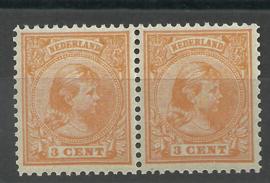 Nvph  34 3 ct Prinses Wilhelmina (Hangend Haar) in paar Postfris (1)