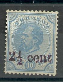 Curacao  24 2½ ct op 10 ct Hulpzegel Ongebruikt