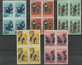 Nvph 802/806 Kinderzegels 1963 in Blokken Postfris