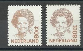 Nvph 1489X 80ct Beatrix Gewoon papier met dichtgelopen kapsel Postfris