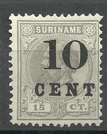 Suriname  30 (Type I) 10ct op 15ct Hulpuitgifte Ongebruikt (1)