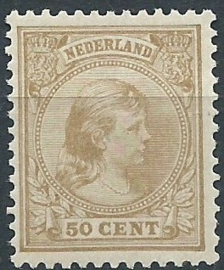 Nvph  43b 50 ct Prinses Wilhelmina (Hangend Haar) Ongebruikt