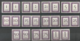 Suriname P 36/46 Cijfer en Waarde in rechthoek in paren Postfris (1)