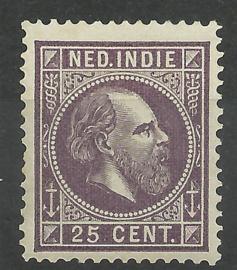 Nederlands Indië  13E 13½ × 13¼ GG 25ct Willem III Postfris + Befund