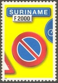 Suriname Republiek 1112 Verkeersbord 5e Uitgifte 2001 Postfris