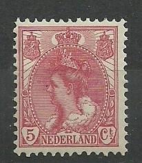 Nvph  60 5 ct Koningin Wilhelmina Bontkraag  Postfris