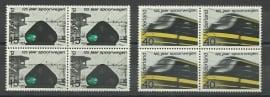 Nvph 818/819 125 Jaar Spoorwegen in Blokken Postfris