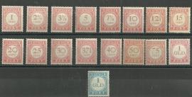 Nederlands Indië Port 23/39 Cijfer en waarde in rood 1913-1924 Ongebruikt