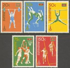 Suriname Republiek 210/214 Olympische Spelen Moskou 1980 Postfris