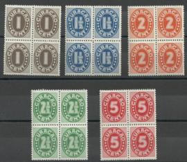Curacao 153/157 Cijfer Indische druk  in blokken van 4 Postfris (1)