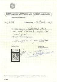 Nvph 2b Willem III  Plaat I - Pos. 46 Ongebruikt + Certificaat