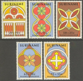 Suriname Republiek 291/295 Paasweldadigheid 1982 Postfris