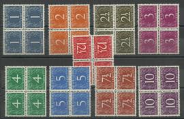 Nieuw Guinea 1/9 Cijferzegels  Postfris (Blokken van 4)