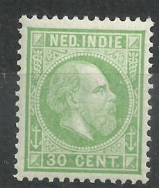 Nederlands Indië  14K 12½ × 12½  30ct Willem III Postfris (4)