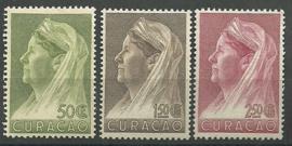Curacao 135/137 Wilhelmina met Sluier Ongebruikt