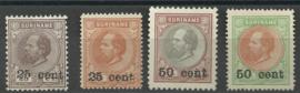 Suriname  37/40 1873-1888 Hulpuitgifte (3) Ongebruikt + Certificaat