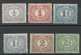 Nvph  50/55 Cijferzegels 1899-1913 Postfris ( 9)