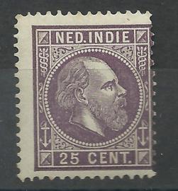 Nederlands Indië  13E 13½ × 13¼ GG 25ct Willem III Postfris
