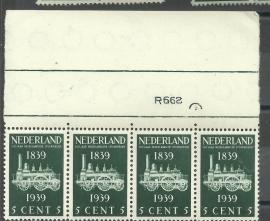 Nvph 325 5 ct Spoorwegzegel in strip van 4 Postfris met Etsingnummer