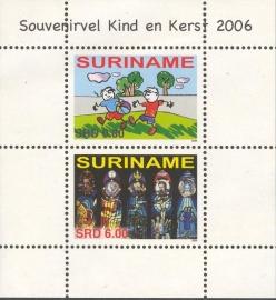 Suriname Republiek 1403 Blok Kinder en Kerst zegel 2006 Postfris