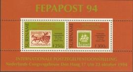 Suriname Republiek  822 Blok Int. Postzegeltent. Fepapost 1994 Postfris
