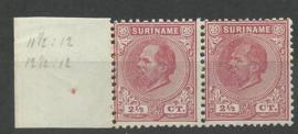 Suriname   3D+3C (11½×12 + 12½×12) 2½ ct Willem III Ongebruikt - Tandingspaar