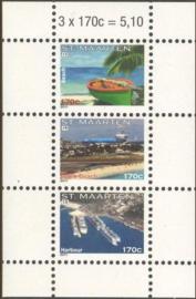 Sint Maarten  44 Blok Frankeerzegels (13/15) Postfris