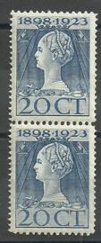 Nvph 125H (11½×12½) 20 ct Jubileum 1923 in paar Postfris (1)