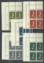 Nvph 374/378 Kinderzegels 1940 in Hoekblokken l.b. van 4 Postfris