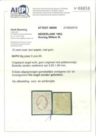 Nvph 2q Willem III  Plaat X - Pos. 65 Ongebruikt + Certificaat