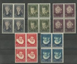 Nvph 683/687 Kinderzegels 1956 in Blokken Postfris