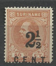 Suriname  21B (14 × 14) grote gaten 2½ ct op 25 ct Hulpuitgifte Ongebruikt (1)