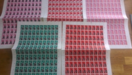 Nvph 894/898 postfris in vellen van 100 met alle plaatfouten
