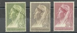 Curacao 135/137 Wilhelmina met Sluier Postfris (3)