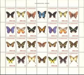 Suriname Republiek 1296/1307 Vlinders 2005 Postfris (Compleet Vel)
