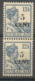 Curacao  74b Type I + II Hulpzegel in vertikaal paar Postfris (1)
