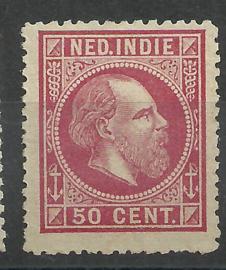 Nederlands Indië  15C 13¼ × 14 KG 50ct Willem III Ongebruikt