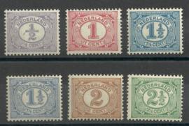 Nvph  50/55 Cijferzegels 1899-1913 Postfris ( 7)