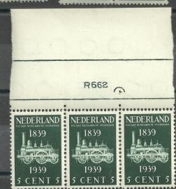 Nvph 325 5 ct Spoorwegzegel in strip van 3 Postfris met Etsingnummer