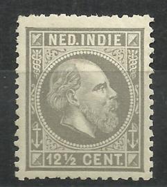 Nederlands Indië  10H 12½ × 12½  12½ct Willem III Ongebruikt (1)