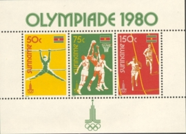 Suriname Republiek 215 Blok Olympische Spelen Moskou 1980 Postfris
